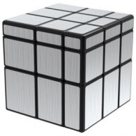 QiYi Brushed Silver Mirror Blocks 3x3x3 Magic Cube Black