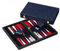 Backgammon blue, medium,synth. leather